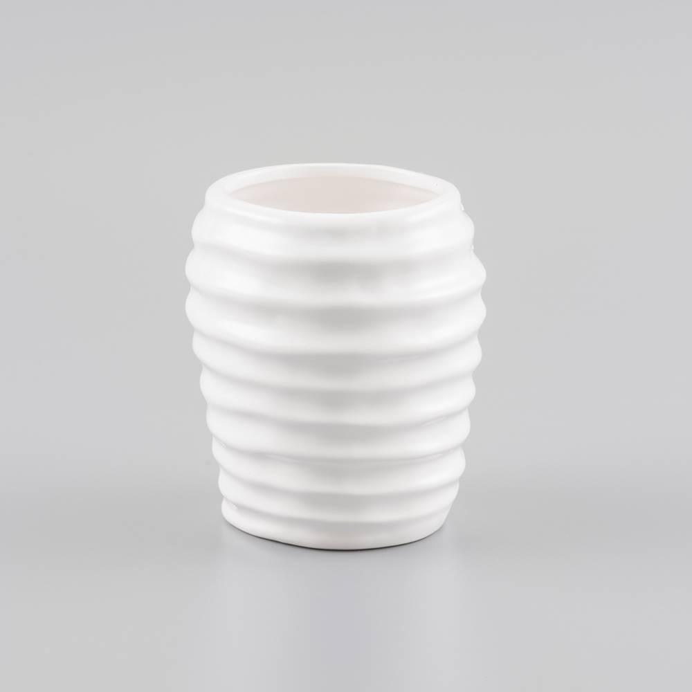 Vaso Bojudo Branco em Cerâmica - Prestige - 15x13,5 cm