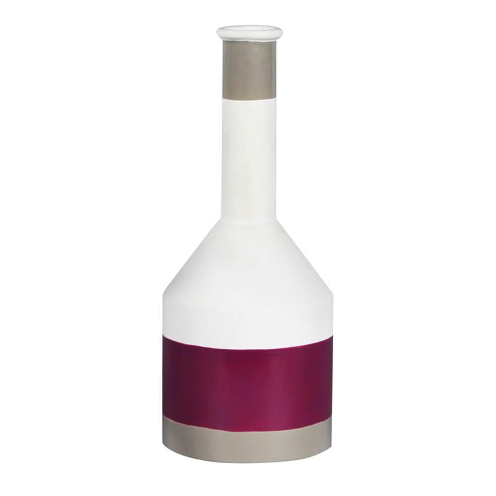 Vaso Chemistry Branco e Roxo Médio em Cerâmica - Urban - 38x15 cm