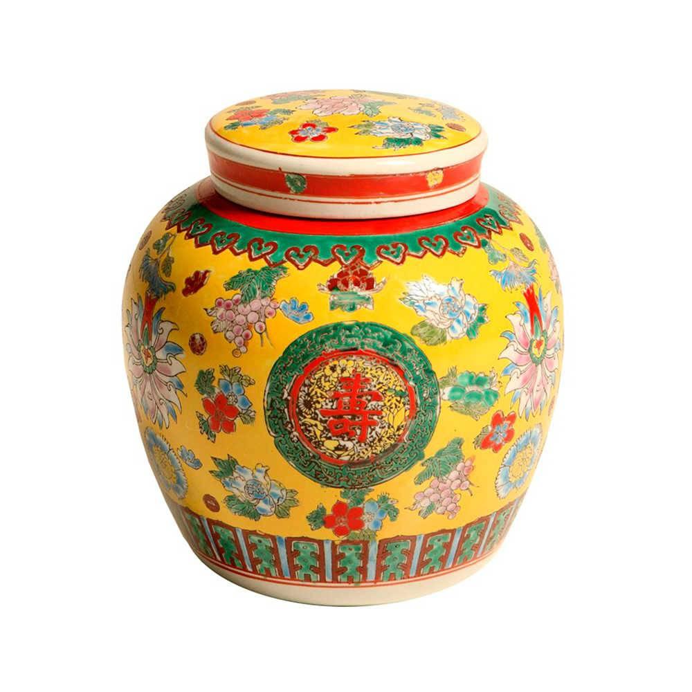 Vaso Chinês Amarelo Estampado em Porcelana - 26x24 cm