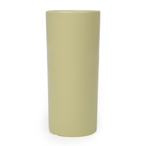 Vaso Cilíndrico Bege Pequeno em Cerâmica - 25x10 cm