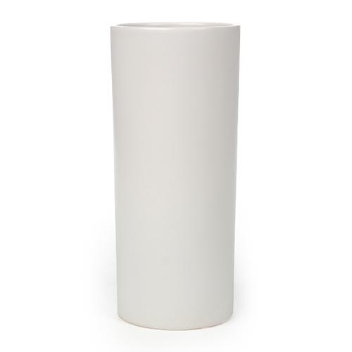 Vaso Cilíndrico Branco Pequeno em Cerâmica - 25x10 cm