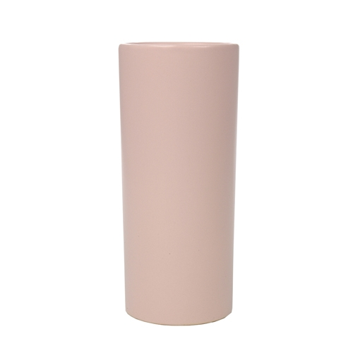 Vaso Cilíndrico Rosa Pequeno em Cerâmica - 25x10 cm