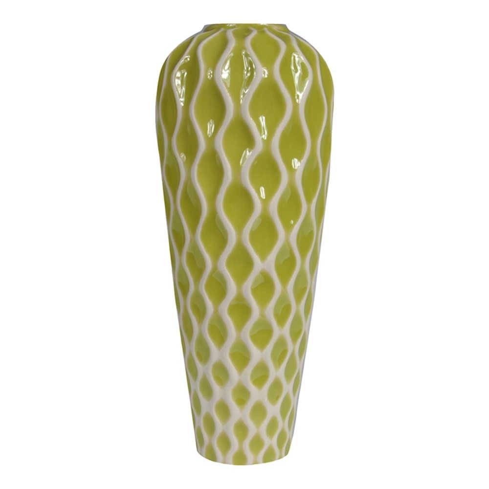 Vaso Color Verde Grande em Cerâmica - Urban - 37,5x15,5 cm