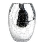 Vaso Comprido Craquelado Prata em Vidro