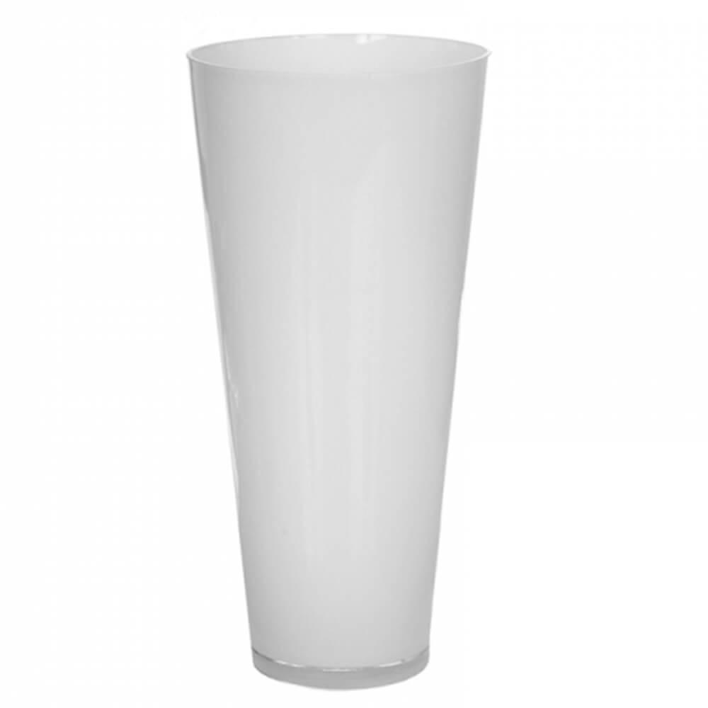 Vaso Cone Branco Grande em Vidro - Urban - 35x18 cm