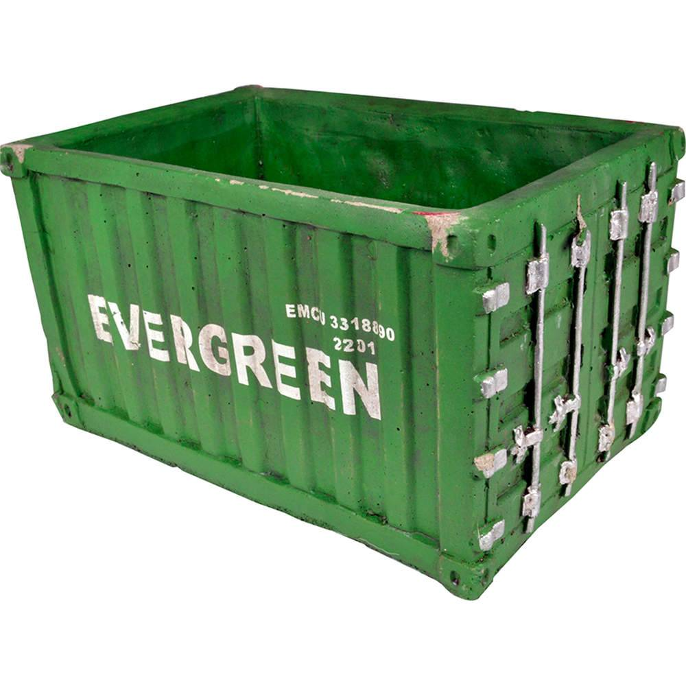 Vaso Container Verde em Cerâmica - Urban - 28,5x19 cm