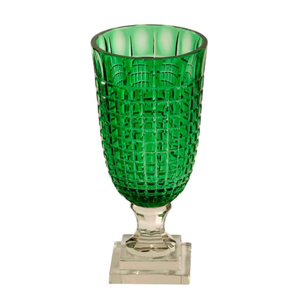 Vaso Copper Verde em Vidro - 33x16 cm