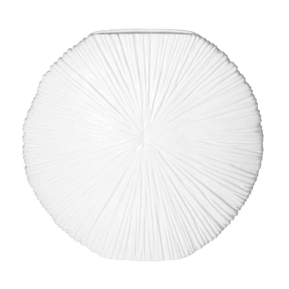 Vaso Coral Redondo Branco em Resina - Urban - 34,4x10,6 cm