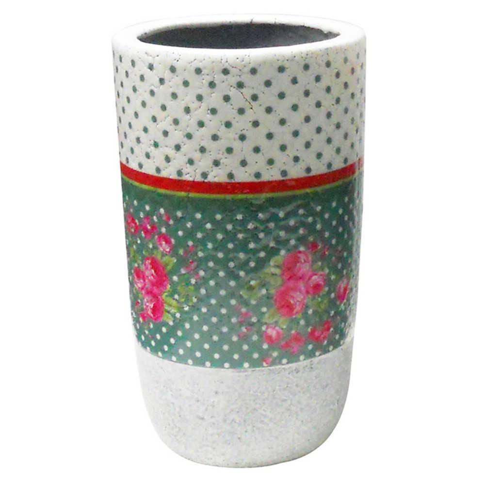 Vaso Country Side Grande Branco e Verde Água em Cerâmica - Urban - 25,5x14 cm