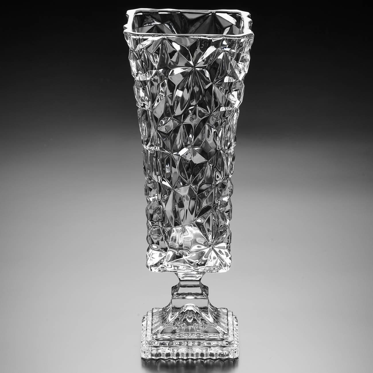 Vaso Ice Rock Pedestal em Cristal - Wolff - 42 cm