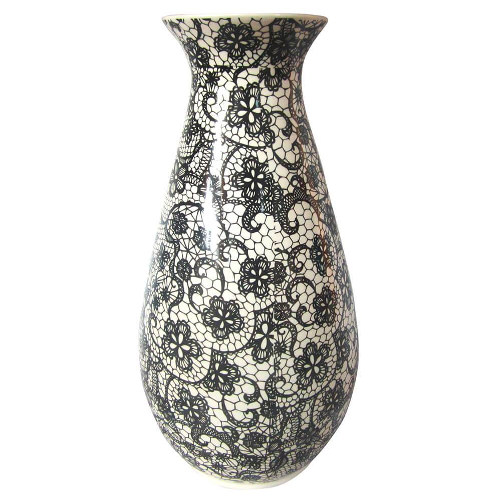 Vaso Dark Full Black Laces Fundo Claro em Cerâmica - Urban - 30x15 cm