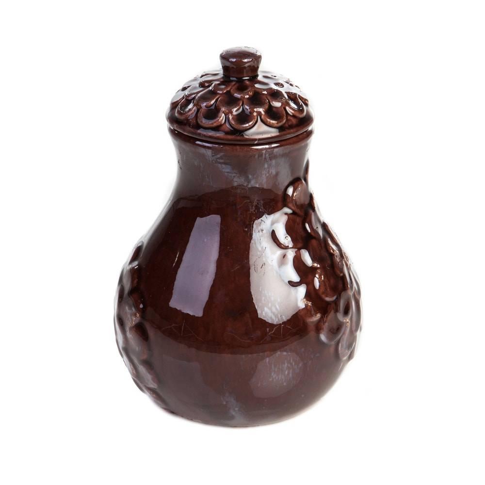 Vaso Decorativo Lírio Vinho Médio em Cerâmica - 23x15 cm