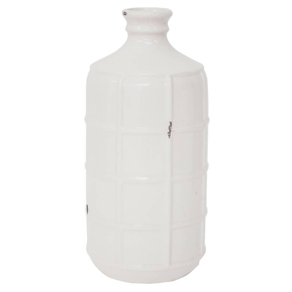 Vaso Decorativo Lully Branco Pequeno em Cerâmica - 26x12 cm