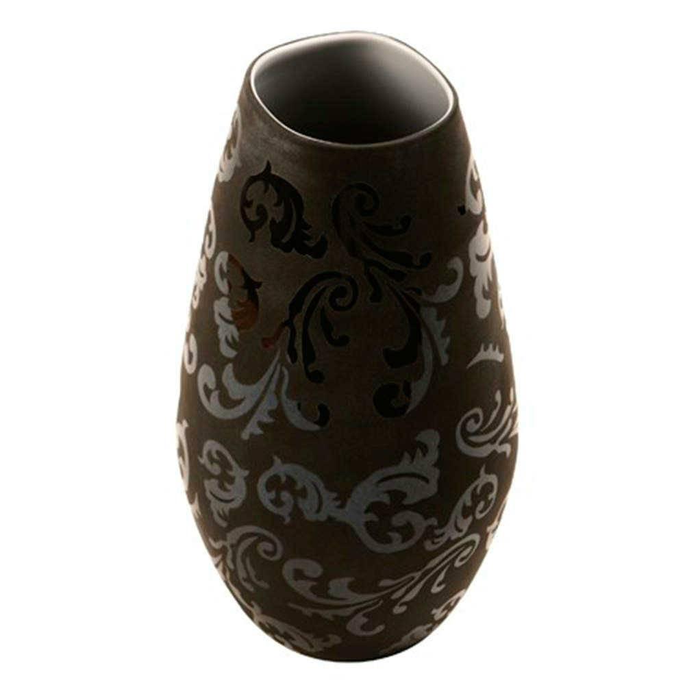 Vaso Decorativo Preto com Arabescos em Vidro - 31x16 cm