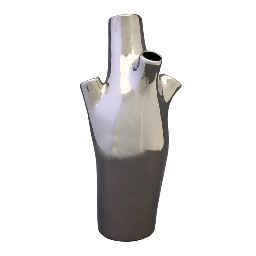 Vaso Decorativo Trunk Prata em Cerâmica - 36,5x16 cm
