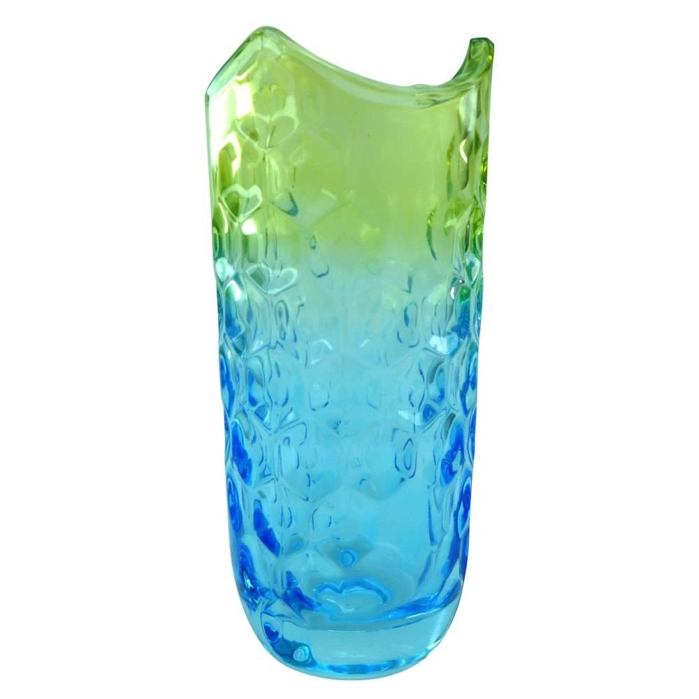 Vaso Degradê Azul e Verde c/ Relevo em Vidro - 28x12 cm