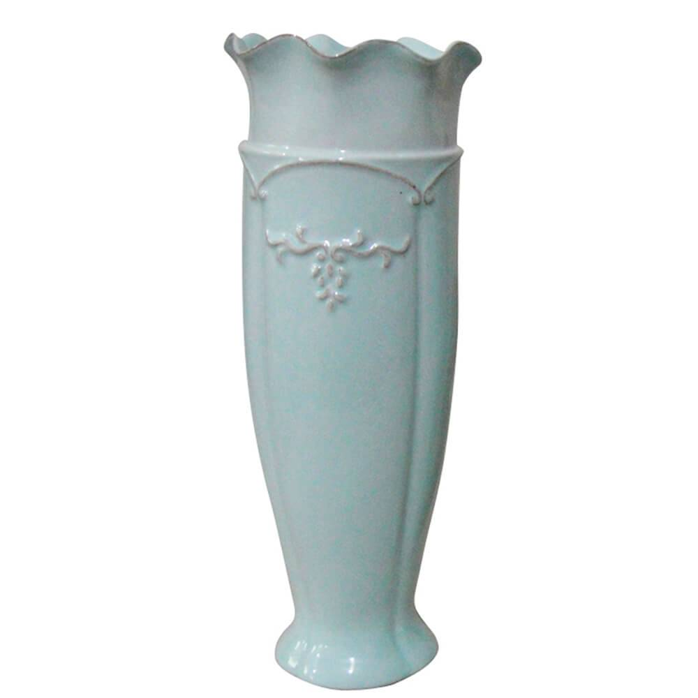 Vaso Delicate Ondule Edge Alto Grande Azul em Cerâmica - Urban - 35x13 cm