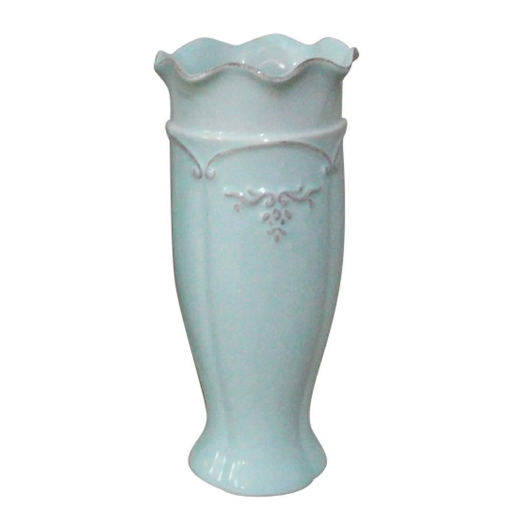 Vaso Delicate Ondule Edge Alto Pequeno Azul Claro em Cerâmica - Urban - 25x11,5 cm