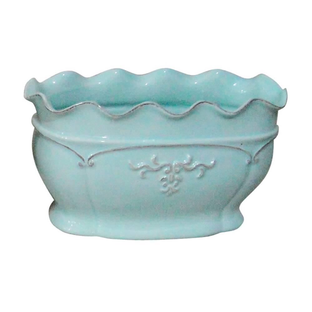 Vaso Delicate Ondule Edge Baixo Pequeno Azul em Cerâmica - Urban - 22x12 cm