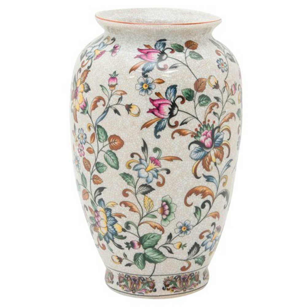 Vaso Delicate em Porcelana com Estampa Floral Pintada a Mão - 29x17 cm