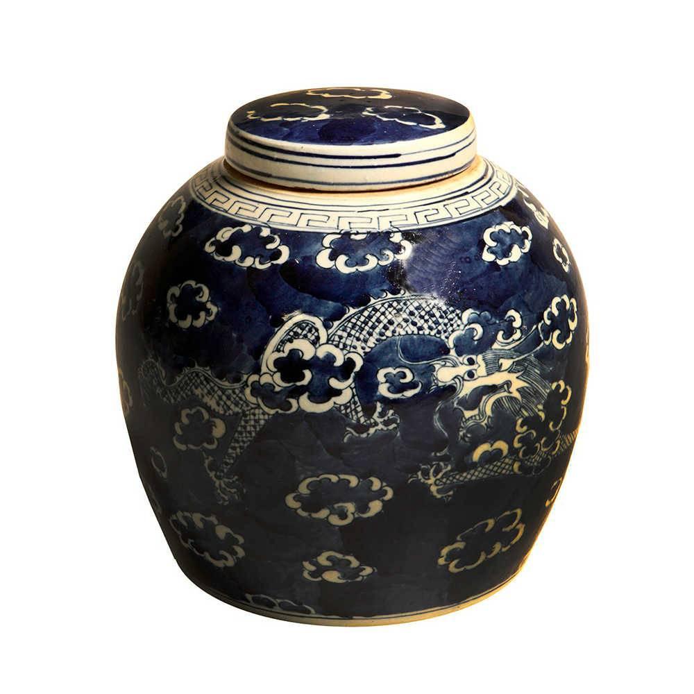 Vaso Dragão Azul em Porcelana - 31x30 cm
