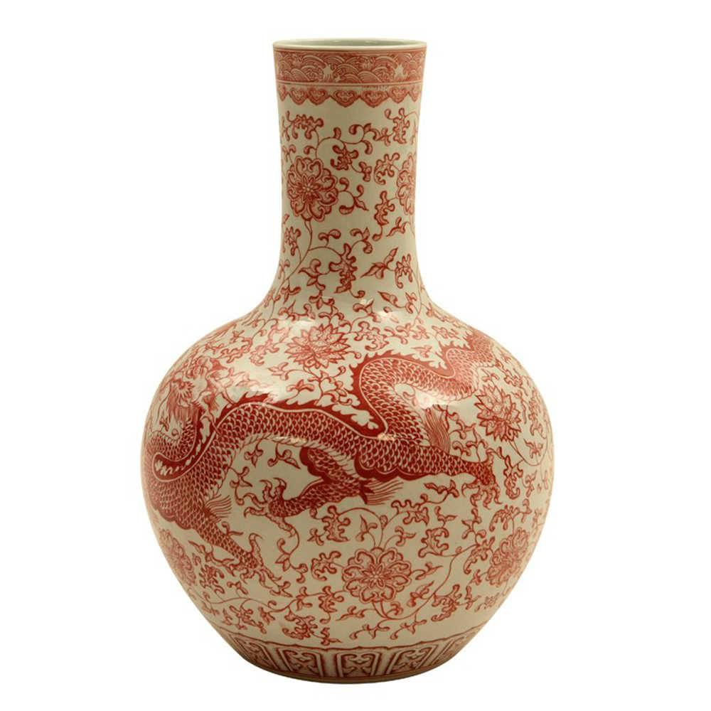 Vaso Dragão Oriental Vermelho em Porcelana - 58x34 cm