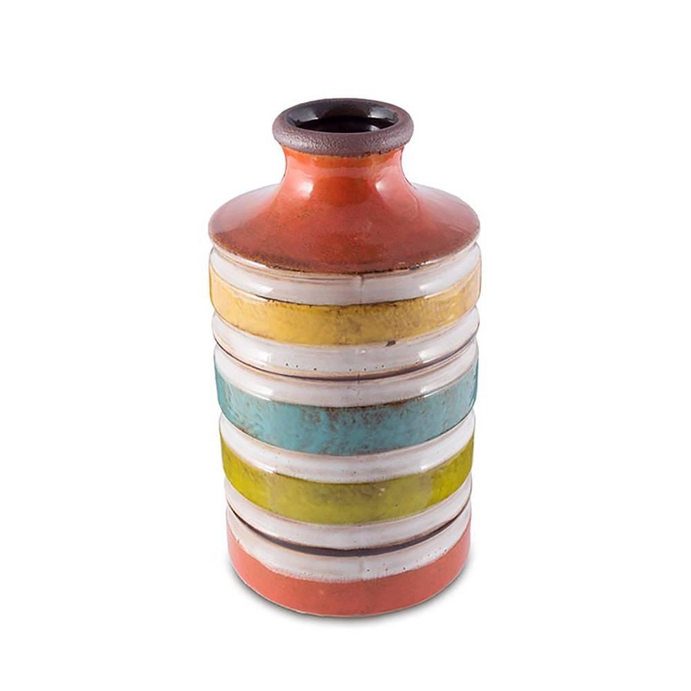 Vaso Ecletique Listras Multicolorido Grande em Cerâmica - 28x14 cm
