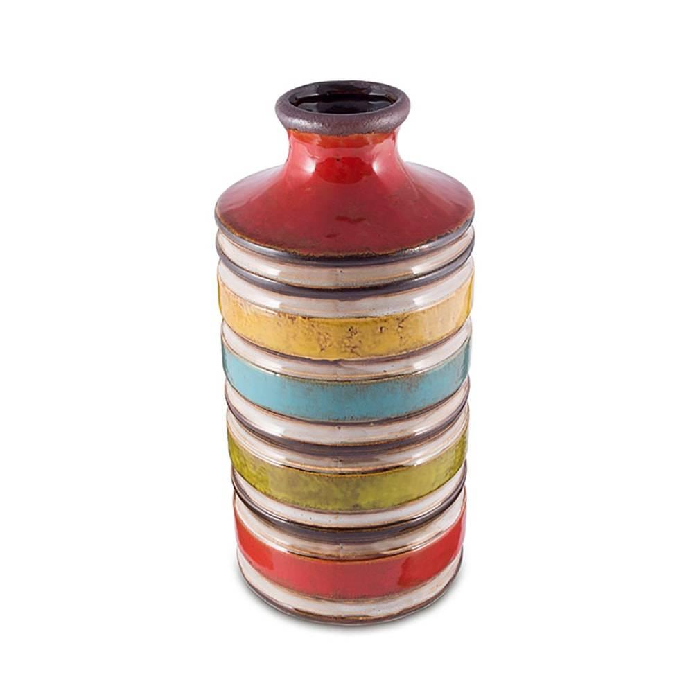 Vaso Ecletique Listras Multicolorido Médio em Cerâmica - 21x12 cm