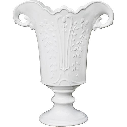 Vaso Effeto Branco em Cerâmica - 36x30x15 cm