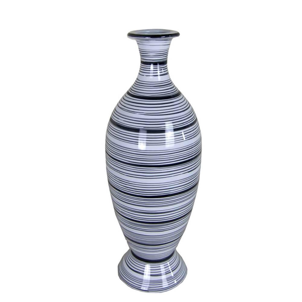 Vaso Egypt Silhouette Cinza Médio em Cerâmica - Urban - 37,5x14 cm