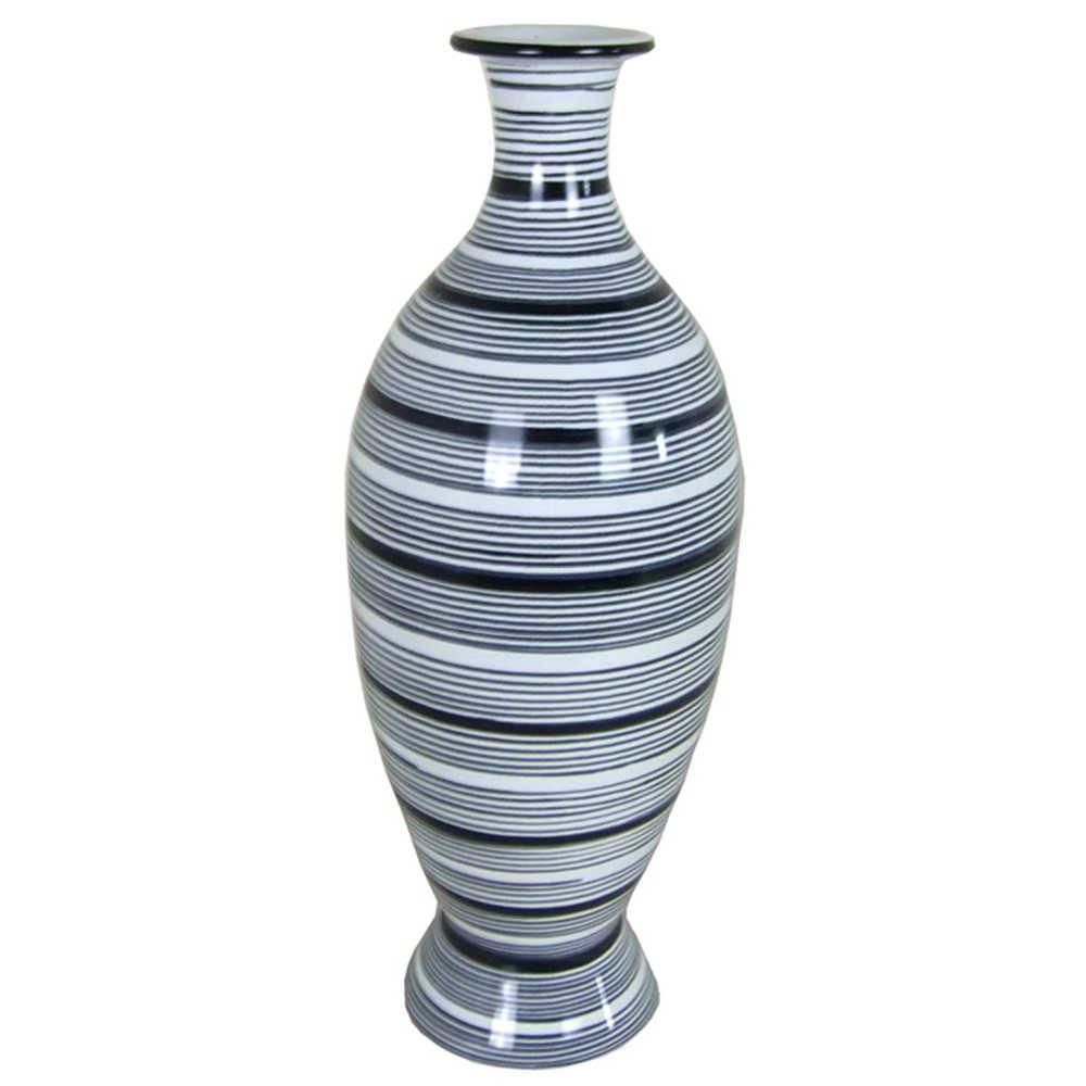 Vaso Egypt Silhouette Extra Grande Cinza em Cerâmica - Urban - 47,5x17 cm