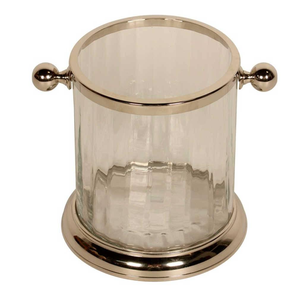 Vaso Elegância em Vidro com Metal Banhado a Níquel - 24x19 cm