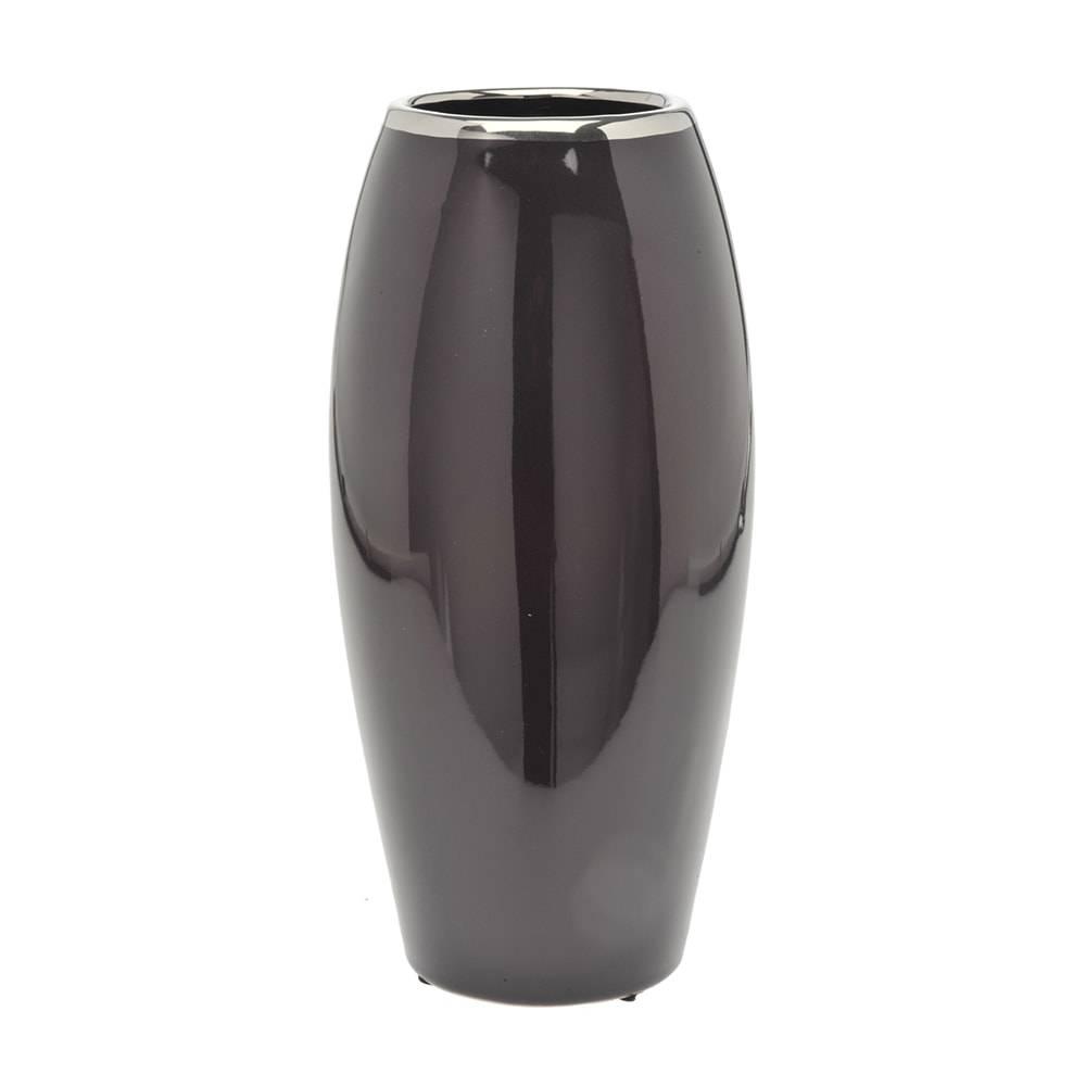 Vaso Eloi Alto Grafite e Prata em Cerâmica - 31x14 cm