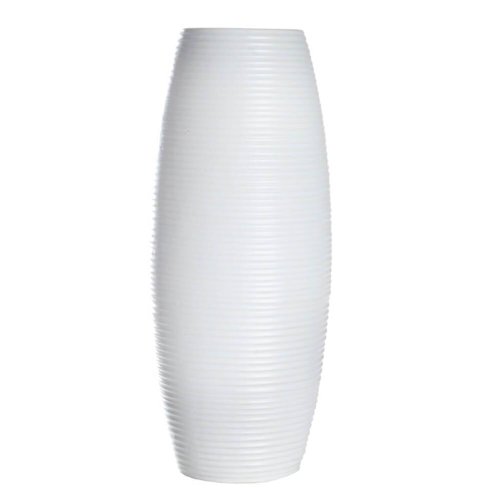 Vaso Embossed Stripes Bullet Branco Grande em Cerâmica - Urban - 39x16,5 cm