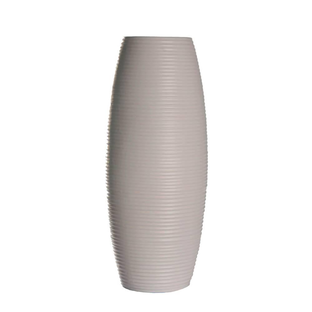 Vaso Embossed Stripes Bullet Cinza em Cerâmica - Urban - 39,5x16,5 cm