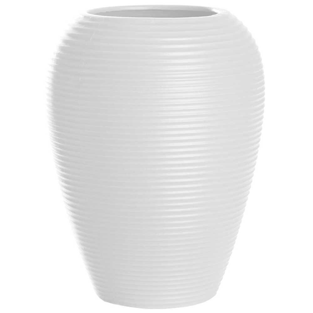 Vaso Embossed Stripes Casulo Branco em Cerâmica - 25x19,2 cm