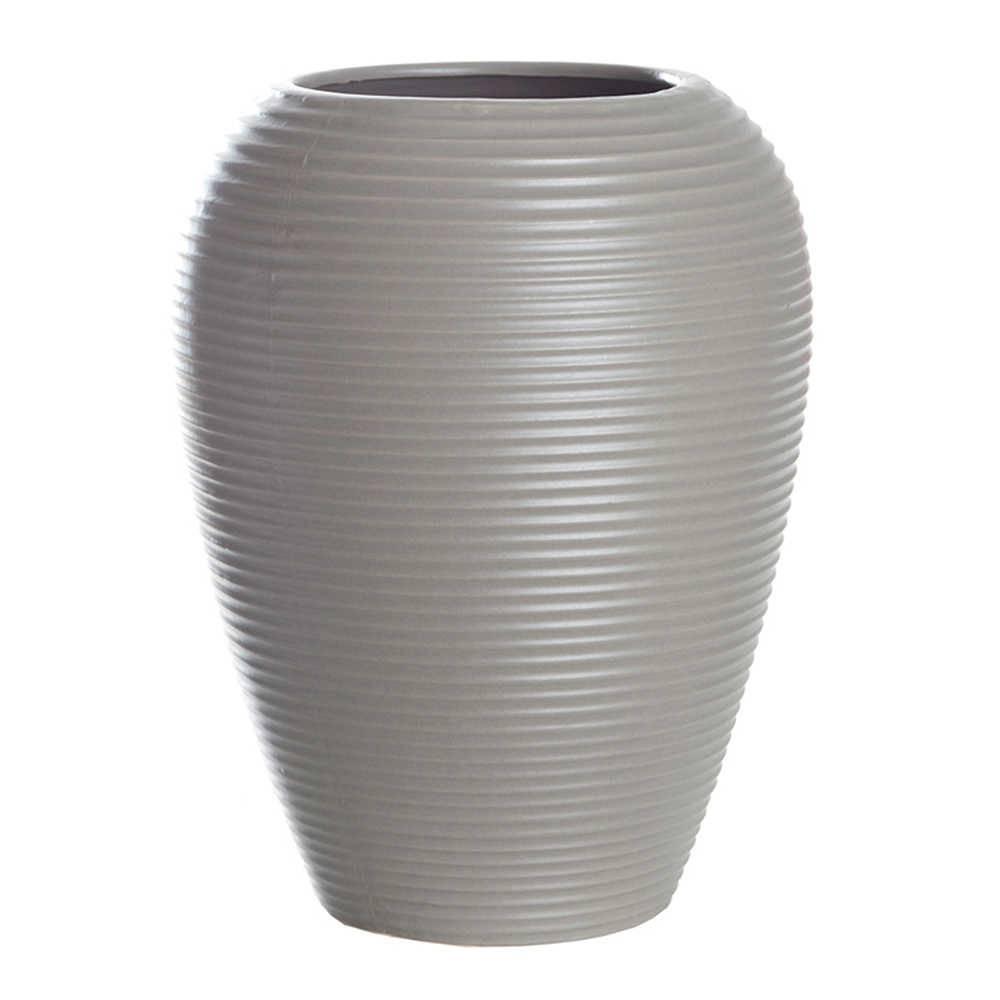 Vaso Embossed Stripes Casulo Cinza em Cerâmica - Urban - 25x19,2 cm