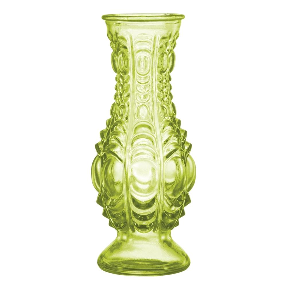 Vaso Esmeralda com Estrutura Detalhada em Vidro - 16x7 cm