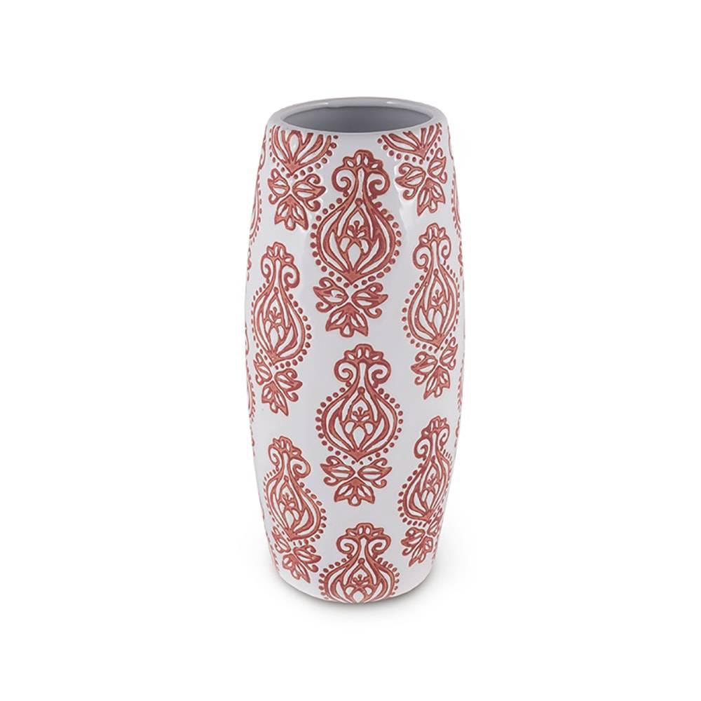 Vaso Estampa Flor Indiana Branco e Laranja em Cerâmica - 27x9 cm