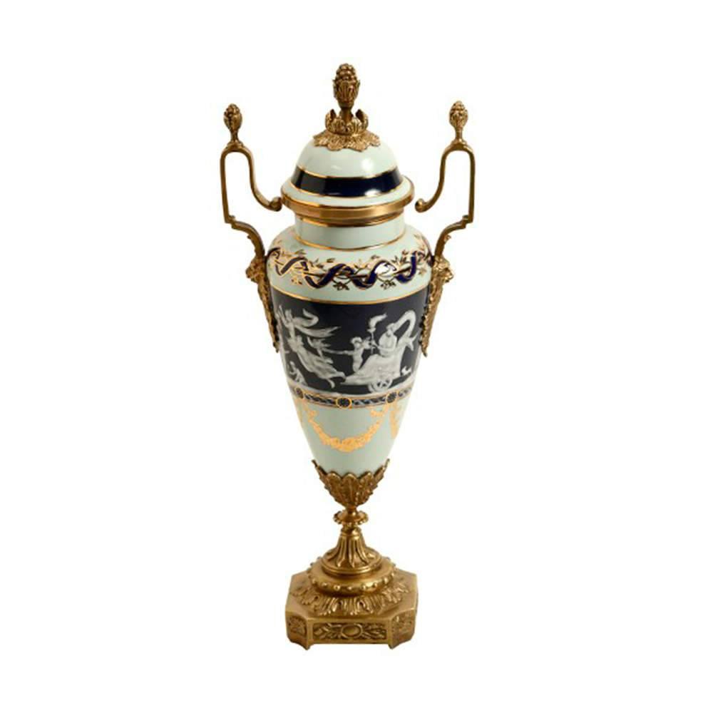 Vaso Estampado Azul com Detalhes Dourados em Porcelana - 39x16 cm