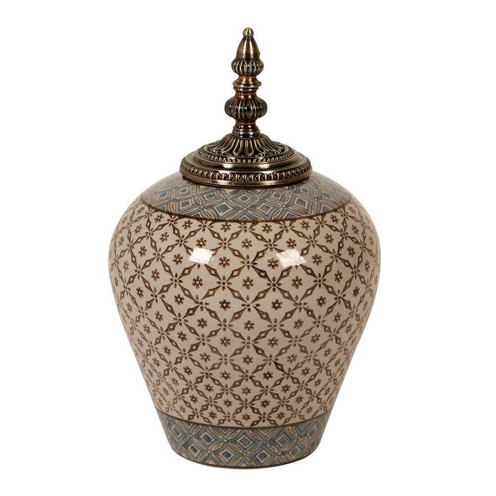 Vaso Estampado Azulejo Bege e Marrom em Porcelana - 36x23 cm