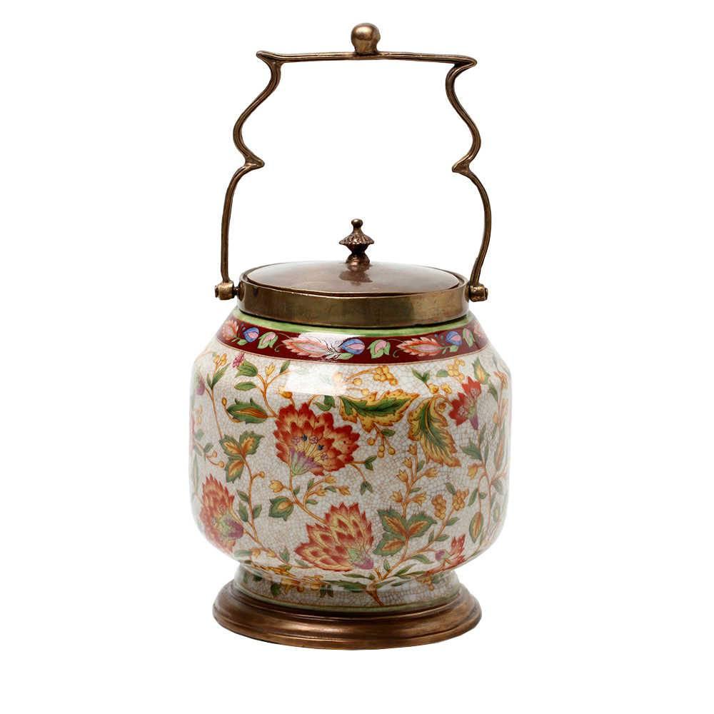 Vaso Estampado Le Jardin Colorido em Porcelana - 19x17 cm