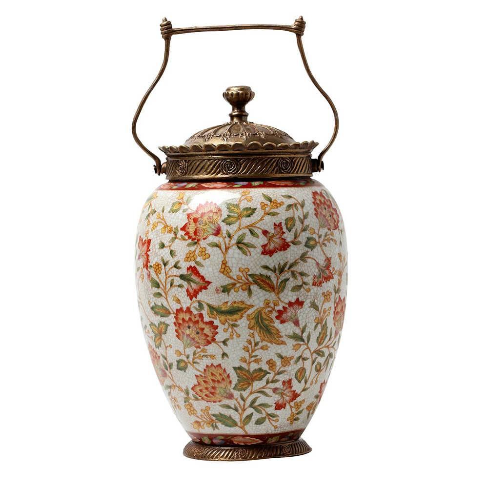 Vaso Estampado Le Jardin Colorido em Porcelana - 29x18 cm