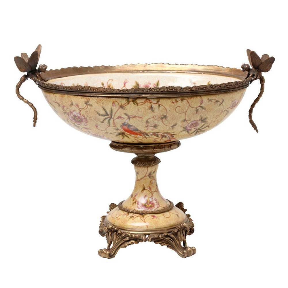 Vaso Estampado Libélula Fundo Bege em Porcelana - 33x27 cm