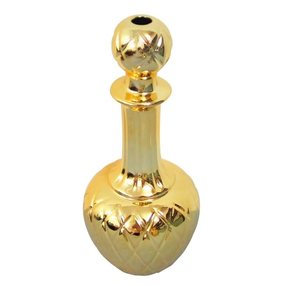 Vaso Express Lines Dourado em Cerâmica - 29x12,5 cm
