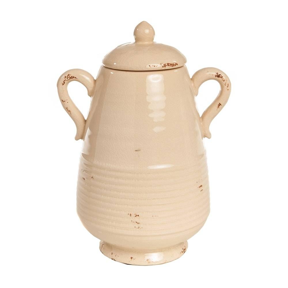 Vaso Falgon Bege Pátina Médio em Cerâmica - 28x20 cm