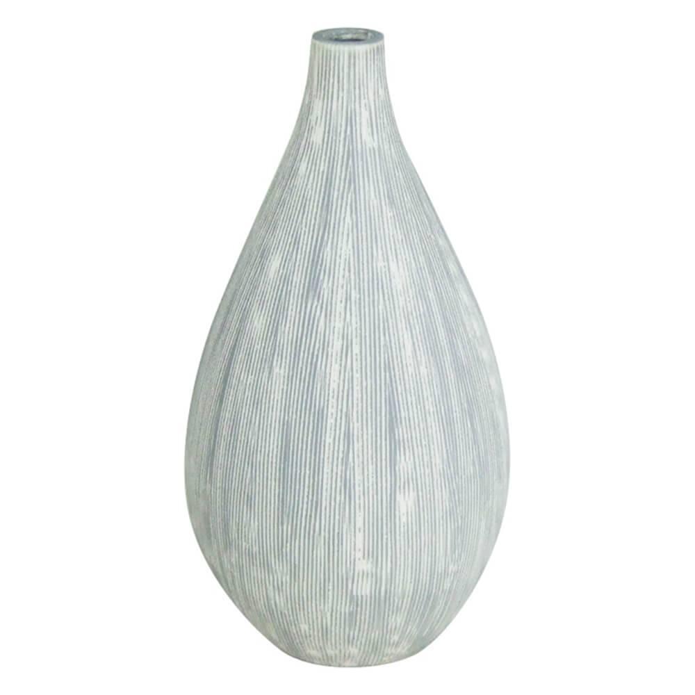 Vaso Fine Texture Drop Cinza em Cerâmica - Urban - 24,5x13 cm