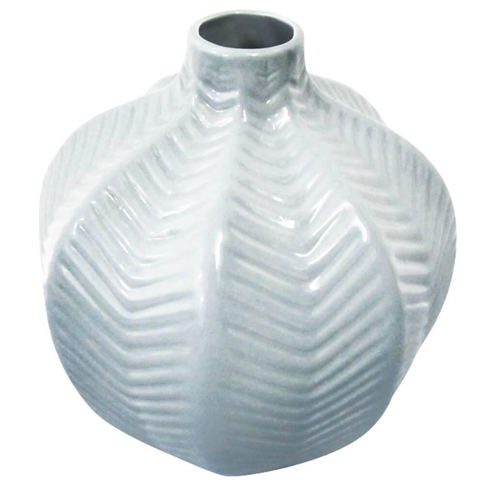 Vaso Fishbone Pequeno Branco em Cerâmica - Urban - 22x19 cm