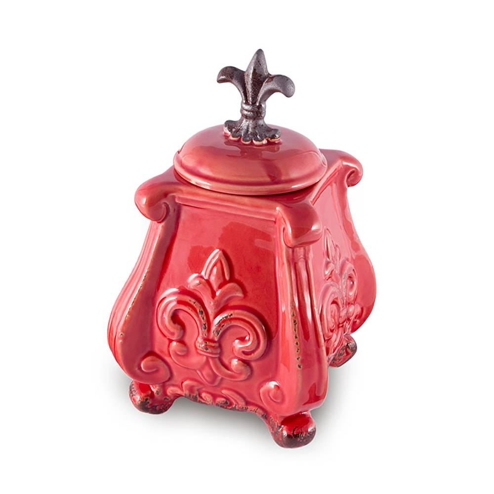 Vaso Flor de Lis Vermelho com Tampa em Cerâmica - 22x12 cm