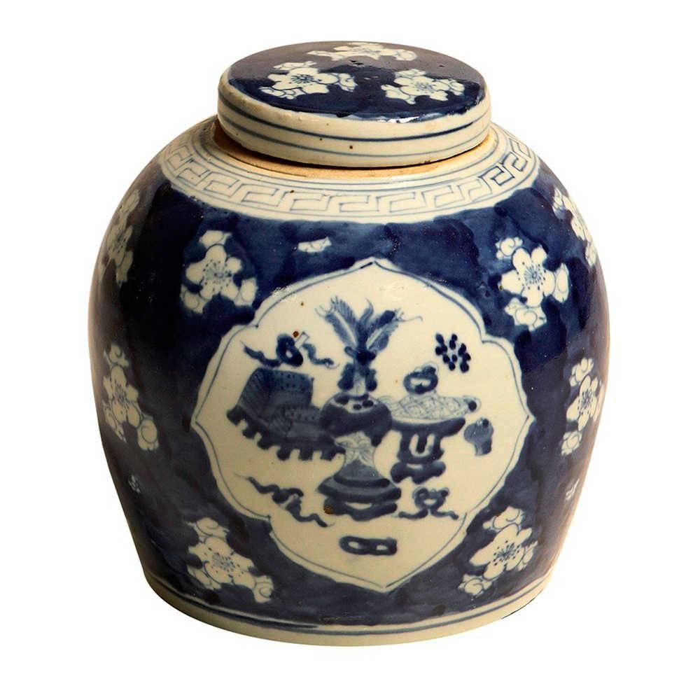 Vaso Flor Oriental Azul e Branco com Tampa em Porcelana - 26x25 cm